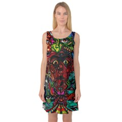 Abstract Psychedelic Face Nightmare Eyes Font Horror Fantasy Artwork Sleeveless Satin Nightdress