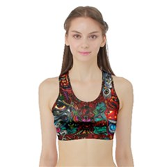 Abstract Psychedelic Face Nightmare Eyes Font Horror Fantasy Artwork Sports Bra With Border