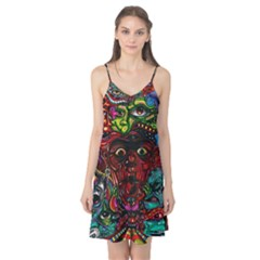 Abstract Psychedelic Face Nightmare Eyes Font Horror Fantasy Artwork Camis Nightgown