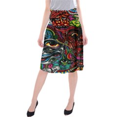 Abstract Psychedelic Face Nightmare Eyes Font Horror Fantasy Artwork Midi Beach Skirt