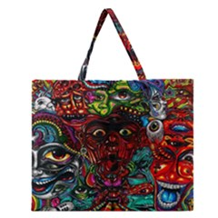 Abstract Psychedelic Face Nightmare Eyes Font Horror Fantasy Artwork Zipper Large Tote Bag