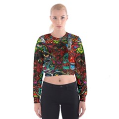 Abstract Psychedelic Face Nightmare Eyes Font Horror Fantasy Artwork Cropped Sweatshirt