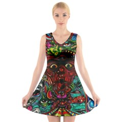 Abstract Psychedelic Face Nightmare Eyes Font Horror Fantasy Artwork V Neck Sleeveless Skater Dress