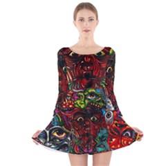 Abstract Psychedelic Face Nightmare Eyes Font Horror Fantasy Artwork Long Sleeve Velvet Skater Dress