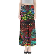 Abstract Psychedelic Face Nightmare Eyes Font Horror Fantasy Artwork Maxi Skirts