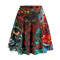 Abstract Psychedelic Face Nightmare Eyes Font Horror Fantasy Artwork High Waist Skirt