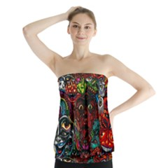 Abstract Psychedelic Face Nightmare Eyes Font Horror Fantasy Artwork Strapless Top