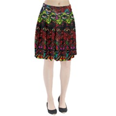 Abstract Psychedelic Face Nightmare Eyes Font Horror Fantasy Artwork Pleated Skirt