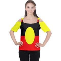 Flag Of Australian Aborigines Women s Cutout Shoulder Tee