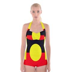 Flag Of Australian Aborigines Boyleg Halter Swimsuit