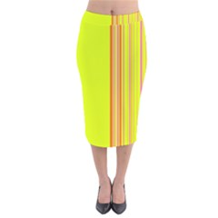 Lines Velvet Midi Pencil Skirt