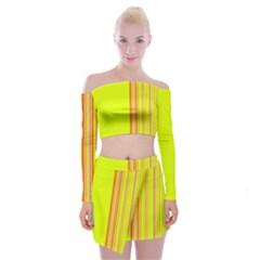 Lines Off Shoulder Top With Skirt Set
