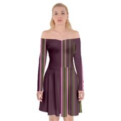 Lines Off Shoulder Skater Dress