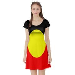 Flag Of Australian Aborigines Short Sleeve Skater Dress