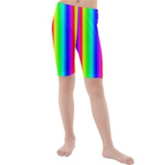 Rainbow Gradient Kids  Mid Length Swim Shorts