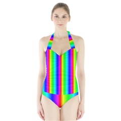 Rainbow Gradient Halter Swimsuit