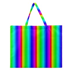 Rainbow Gradient Zipper Large Tote Bag
