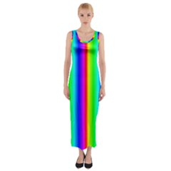 Rainbow Gradient Fitted Maxi Dress