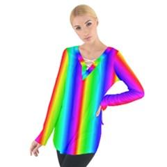 Rainbow Gradient Women s Tie Up Tee