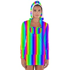 Rainbow Gradient Women s Long Sleeve Hooded T Shirt