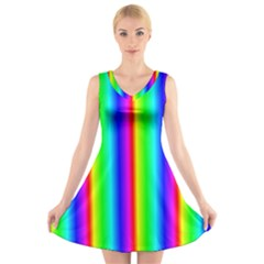 Rainbow Gradient V-Neck Sleeveless Skater Dress