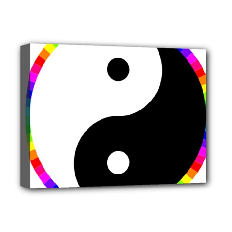 Rainbow Around Yinyang Deluxe Canvas 16  X 12