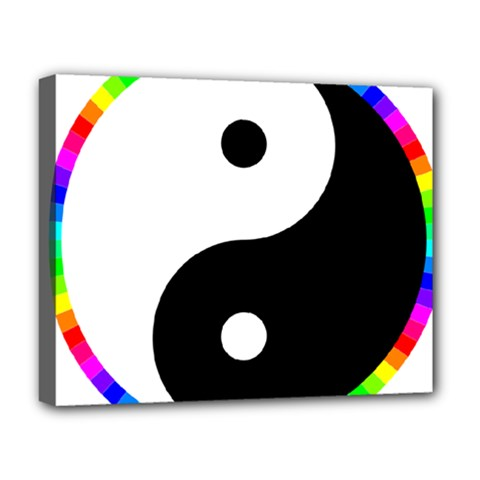Rainbow Around Yinyang Deluxe Canvas 20  x 16