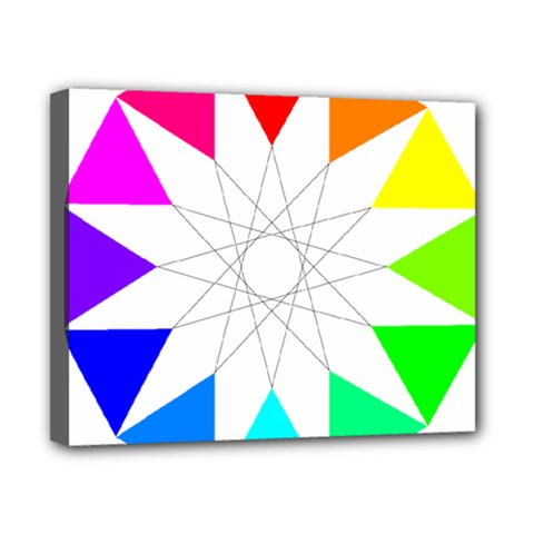 Rainbow Dodecagon And Black Dodecagram Canvas 10  X 8