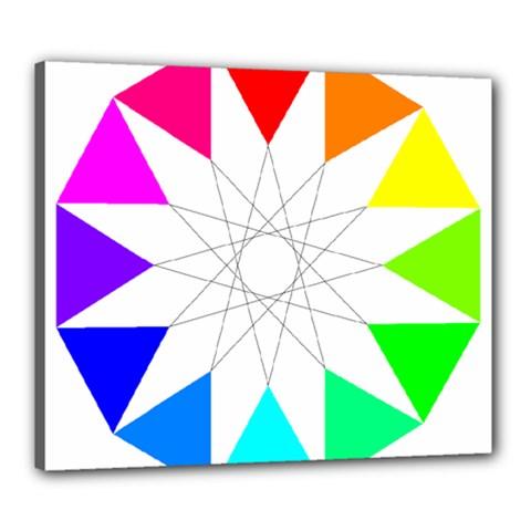Rainbow Dodecagon And Black Dodecagram Canvas 24  x 20