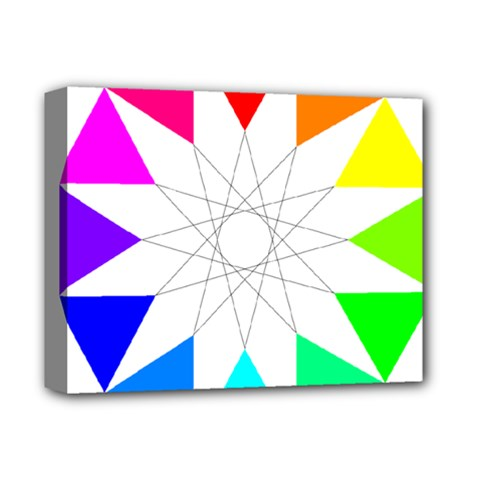 Rainbow Dodecagon And Black Dodecagram Deluxe Canvas 14  X 11