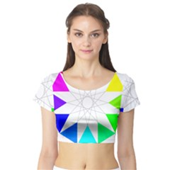 Rainbow Dodecagon And Black Dodecagram Short Sleeve Crop Top (tight Fit)