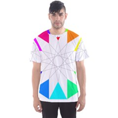 Rainbow Dodecagon And Black Dodecagram Men s Sport Mesh Tee