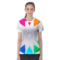Rainbow Dodecagon And Black Dodecagram Women s Sport Mesh Tee