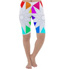 Rainbow Dodecagon And Black Dodecagram Cropped Leggings