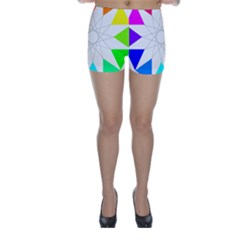 Rainbow Dodecagon And Black Dodecagram Skinny Shorts