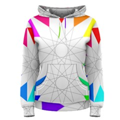 Rainbow Dodecagon And Black Dodecagram Women s Pullover Hoodie