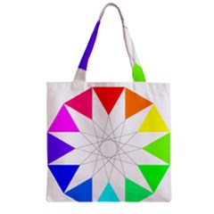 Rainbow Dodecagon And Black Dodecagram Zipper Grocery Tote Bag