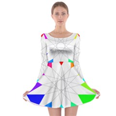 Rainbow Dodecagon And Black Dodecagram Long Sleeve Skater Dress