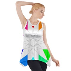 Rainbow Dodecagon And Black Dodecagram Side Drop Tank Tunic