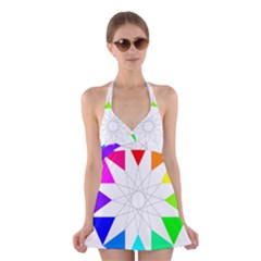 Rainbow Dodecagon And Black Dodecagram Halter Swimsuit Dress