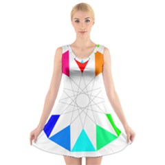 Rainbow Dodecagon And Black Dodecagram V Neck Sleeveless Skater Dress