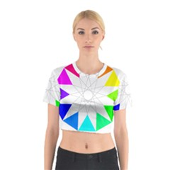 Rainbow Dodecagon And Black Dodecagram Cotton Crop Top