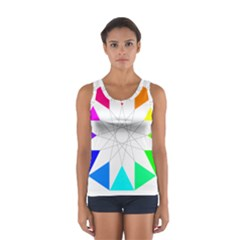 Rainbow Dodecagon And Black Dodecagram Women s Sport Tank Top