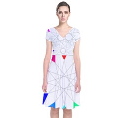 Rainbow Dodecagon And Black Dodecagram Short Sleeve Front Wrap Dress