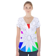 Rainbow Dodecagon And Black Dodecagram Short Sleeve Front Detail Top