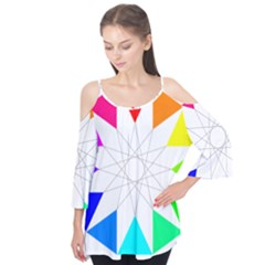 Rainbow Dodecagon And Black Dodecagram Flutter Tees