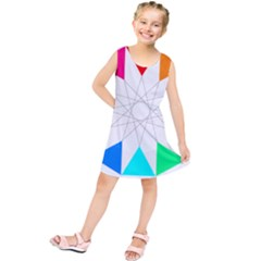 Rainbow Dodecagon And Black Dodecagram Kids  Tunic Dress