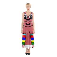 Cartoon Cat In Rainbow Socks Sleeveless Maxi Dress