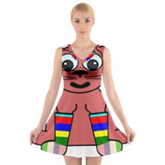 Cartoon Cat In Rainbow Socks V Neck Sleeveless Skater Dress
