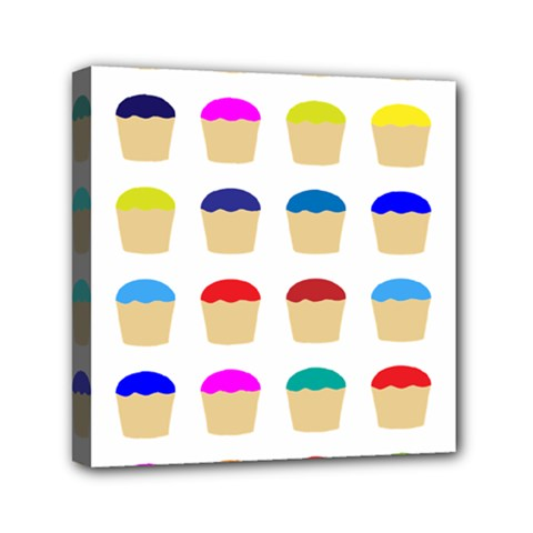 Colorful Cupcakes Pattern Mini Canvas 6  X 6